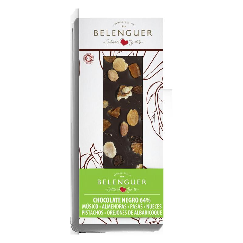 CHOCOLATE GOURMET ARTESANO  BELENGUER NEGRO CON OREJONES DE ALBARICOQUE