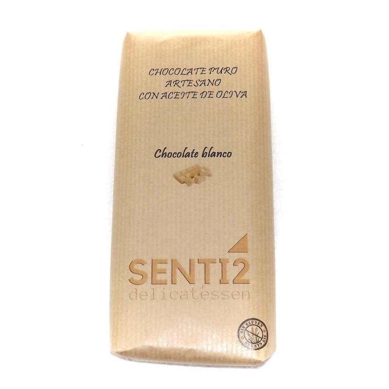 CHOCOLATE BLANCO ELABORADO CON ACEITE OLIVA VIRGEN EXTRA SENTI2  100g.